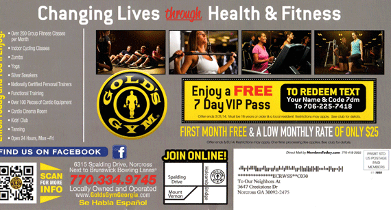 Atlanta Marketing Agency Example - Gold's Gym postcard