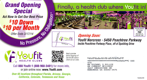 Marketing Example - youfit postcard