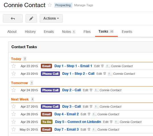 Contact tasks set-up Insightly CRM