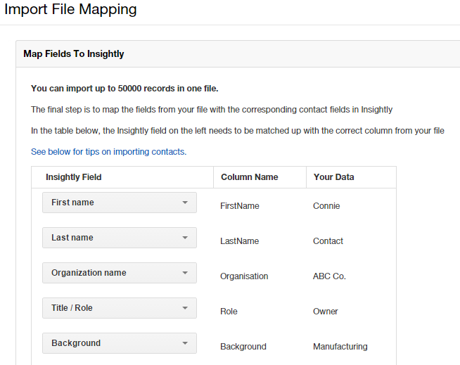 Import File Mapping to Insightly CRM