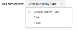 Insightly CRM Choose Activity Type Screen