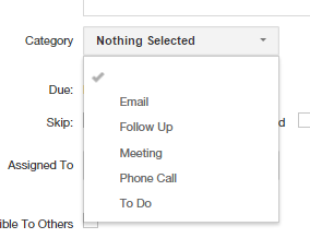 Insightly CRM Task Details Choices