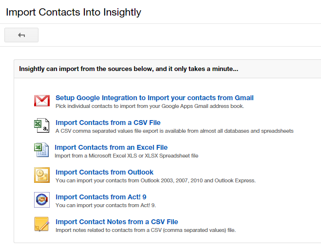 Importing your contacts from apps to Insightly CRM