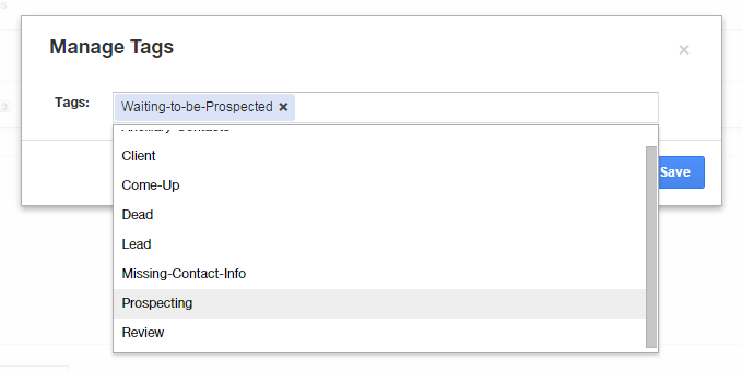 Managing tags for prospects in Insigtly CRM