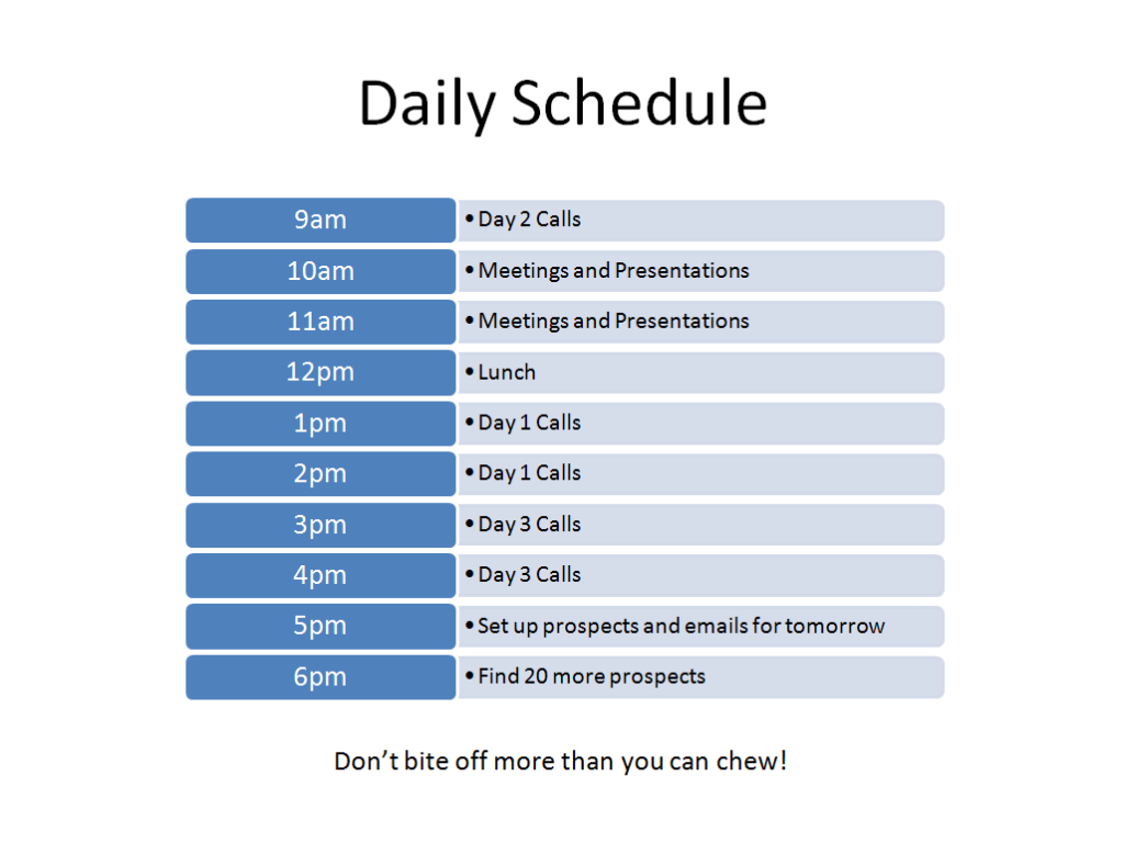 Daily Prospecting Schedule